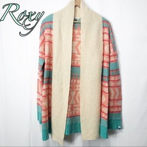 Roxy- Cream Coral Teal Cardigan Aztec Sweater LG